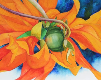 NEW! Art Original Watercolor Painting of a DAHLIA