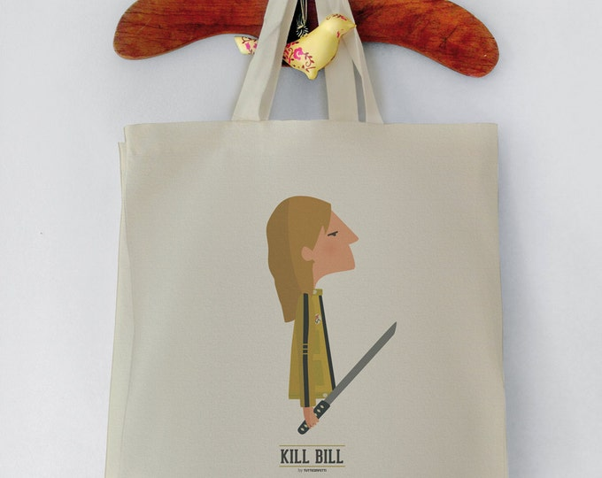 Kill Bill Tote Bag. Tarantino Shopping bag. Reusable shopper bag. Grocery bag. Eco tote bag 100% Top Quality Canvas Cotton. Digital printed.