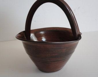 Vintage Stoneware Basket Small Pottery Basket Handmade Pottery Basket On the Cusp Pottery Mothers Day Basket African Violet Basket