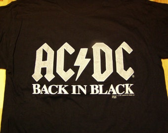 ACDC Back in Black Tour T-Shirt 1991 DeadStock Licensed, acdc tour tshirt,t shirt,rock tour tshirt,angus young,razors edge,mint condition