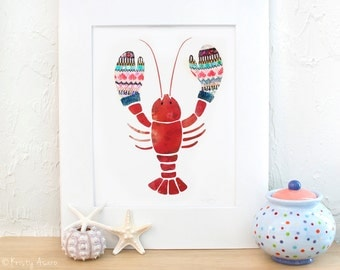 New England Lobster Mittens Print
