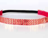"Gold and Pink Chevron Shine NonSlip Headband 3/4"", Non-Slip Headband, Workout Headband, Spinning, Dance, Running, Half Marathon, Marathon"