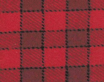 "HALF PRICE 100% Wool Fabric by the yard - Red Wool Fabric - Red Large (3/4"") Check Wool Fabric #16"