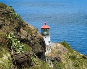 Makapuu Point Lighthouse Oau Hawaii Lighthouse Square Metal Print