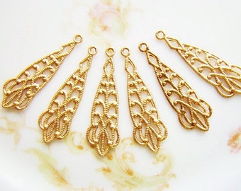 Victorian Lacey Filigree Raw Brass Earring Dangles Drops Charms - 6