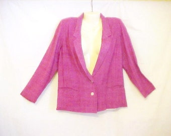 Vintage Villager Jacket - Size 6 P Woman - Silk Fabric - Perfect for Spring - Fuchsia Pink - Straight Unlined Blazer Style - Pearl Buttons