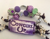 Beaded Cuff Wrap Bracelet, Horse Jewelry, Cowgirl Up Fashion, Western Accessory, Purple and Green Spring Fashion Bracelet, Spring Accessory