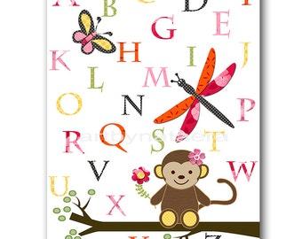 Baby Gift Kids Art Kids Wall Art Baby Girl Nursery Prints Nursery Monkey Alplabet Nursery Art Print Kids Room Decor Orange Pink Yellow