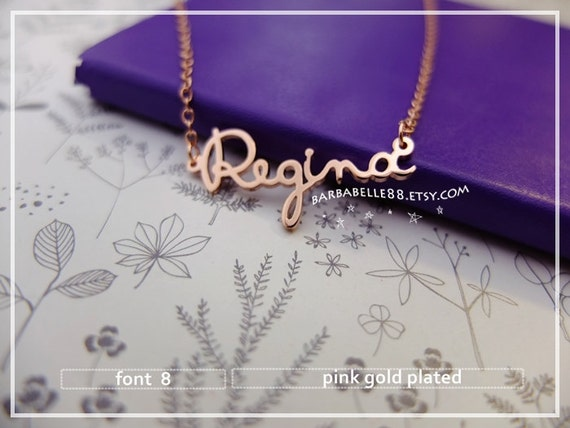 20% off // Font 8 // Custom name necklace -Sterling  -yellow - pink - white gold plated- X'mas- Bridesmaid- mother-Valentine gift. SALE