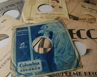 Antique record sleeves Record covers HMV Decca Parlophone Columbia paper record sleeves