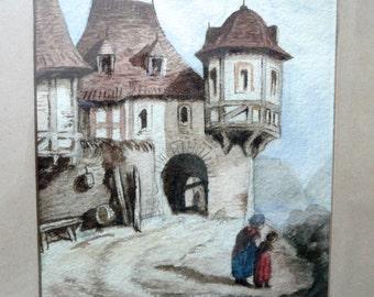 Antique Watercolor - Art - Meissen Germany - Water Colour - Medieval Picture - Original Folk Art Frame - Architectural Germanic Watercolor
