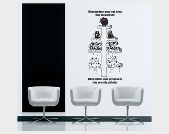 Corporate vinyl wall decals - Top vs Bottom level management removable sticker ideal for companies (ID: 131044)