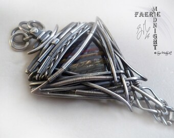 "Natural Tiger Iron in Sterling & Fine Silver Wire Wrap Unisex Pendant (FE7)  ""ENIGMA"""