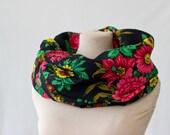 black wool scarf, floral circle scarf, Russian scarf, Russian shawl, vintage babushka, black, red and green, wool cowl scarf, garden 123