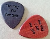 Custom Etched GUITAR PICK Laser Engraved by us in the USA Front and Back Olive Wood from Bethlehem