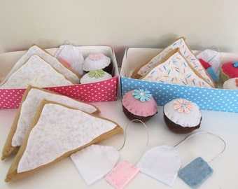 Sweets Felt Pretend Play Food Set, cupcakes, teabags