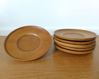 Japanese chataku or wood teacup saucers
