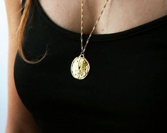 Gold necklace, long pendant, gold chain, 14k gold filled, everyday jewelry, unique necklace, coin necklace