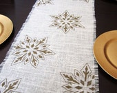 Snowflake Table Runner, Gold Hand-Painted Burlap Runner, Christmas Holiday Table Linens