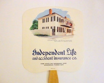 Vintage Cardboard Paddle Advertising Insurance ONE 1970s Florida Independent Life insurance by metrocottage