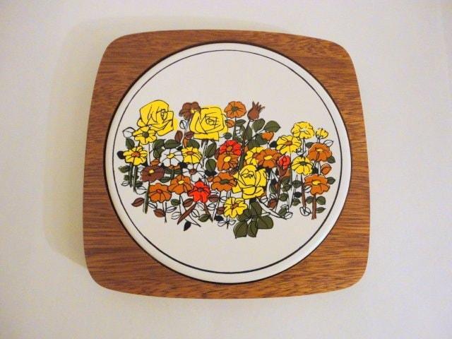Vintage Wooden Trivet Round Ceramic Tile 1970s By Metrocottage