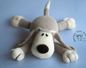 Dog PDF knitting pattern. Knitted in the round. New baby gift pattern. Nursery decor pattern