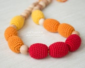 Teething necklace / nursing necklace & breastfeeding toy for baby Red Orange Yellow - READY TO SHIP