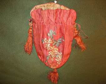 Antique Pink Silk Embroidered Bag with Grapes and Tassels