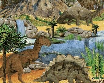 Dinosaur Prehistoric Stonehenge panel Northcott