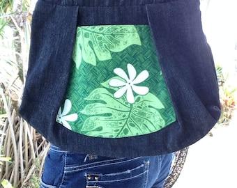 Vintage Handmade Hawaiian Purse, Aloha Shirt Fabric and Denim, White Plumeria Flower & Green Leaf Print