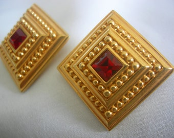 Square Red Crystal and Gold Tone Swarovski Pierced Earring | Swan Logo | Vintage 1986 - 1996
