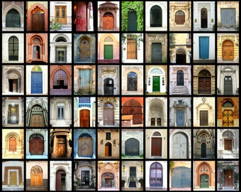 World Door Photos. Door Photography. Colorful Door Collage. Mosaic. Photograph Print. Rustic. Travel Photography. Home Decor. Wall Decor.