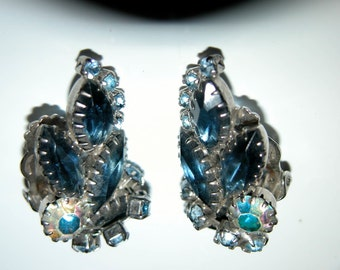Sapphire Climber Rhinestone Earrings Brilliant Large Blue Retro Hand Set Rhinestone Clip Earrings