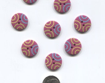 Set of 8 Dark Purple Plastic Buttons with dotted design-Item#114