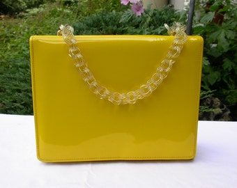 Vintage Yellow Vinyl Handbag With Plastic Celluloid Chain