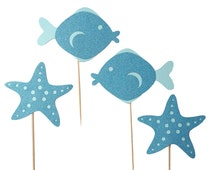 Starfish Cupcake Toppers / Fish Cupcake Toppers / Under the Sea Cupcake Toppers / Under the Sea Party Decorations