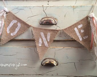 Baby first birthday One burlap banner - birthday party - photo prop - peach and gold