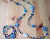 One of a kind jewelry set, handmade starfish focal beads and Blue tones beads necklace & bracelet set, vacation jewelry