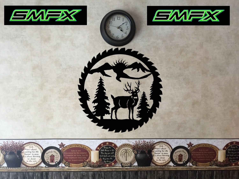 deer saw blade metal wall art