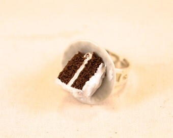 Chocolate Cake with White Icing Ring Polymer Clay Food Jewelry