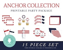 INSTANT DOWNLOAD Nautical Printable Party Package (Preppy Anchor Party, Boys Nautical Party Instant Download, Nautical Party Decorations)