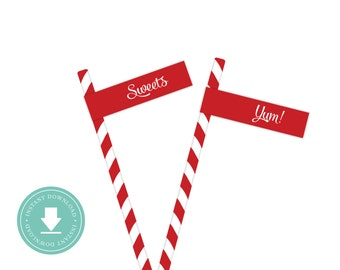 INSTANT DOWNLOAD Gingerbread Straw Flags (Cookie Party, Yum, Sweets Straw Flags, Printable Straw Flags, Gingerbread)
