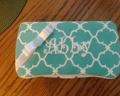 Decorated travel wipes case in quatrefoil ,monogramming included.......matching set for baby is available