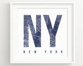 New York Vintage Map Print - nyc Cities- Brooklyn, Manhattan **DIGITAL DOWNLOAD VERSION**