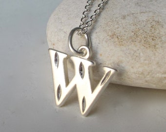 Initial W Necklace- Charm Necklace- Silver Initial Necklace- Statement Necklace- Minimalist Necklace- Necklaces