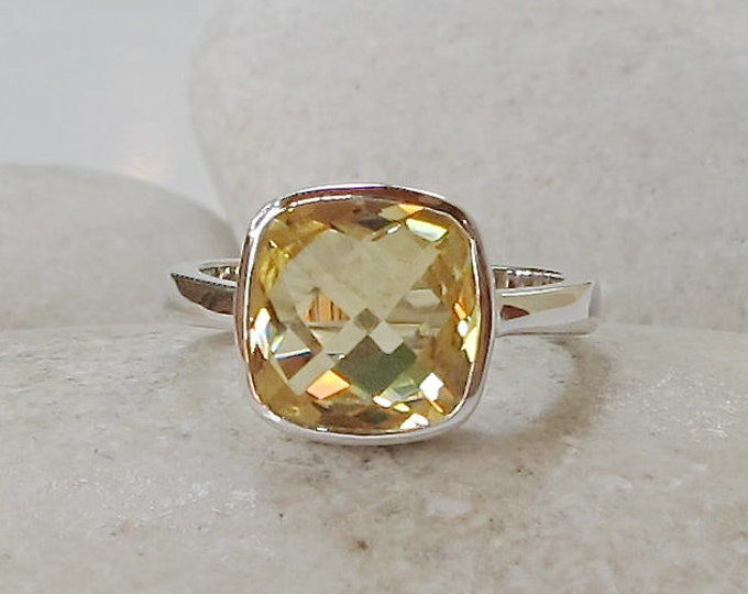 Yellow Topaz Stacking Ring- Square Shape Yellow Ring- Yellow Quartz Ring- Sterling Silver Gemstone Ring- Simple Minimalist Ring