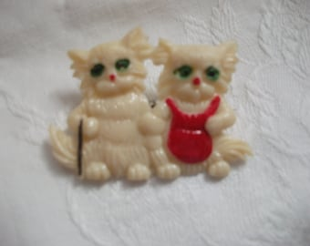 Cute little Kitties  early plastic brooch
