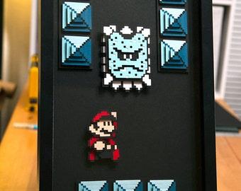 Mario Thwomp - Super Mario 3 - paper 8 bit art - hand cut 3D papercraft video game decor in shadowbox
