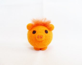 Needle Felted Pig -  miniature orange pig figure - 100% merino wool - wool felt pig - orange felt pig