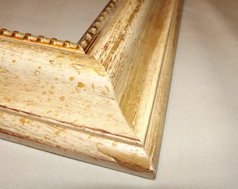 16 x 20 Ready to Ship picture frame ~ Beige - Gold ~ Gold Beaded Lip ~ 2 in Wide x 1 in Tall x 5/8 inch Deep Moulding